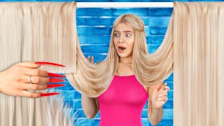 Wearing the Longest Hair and Nails for 24 Hours! Girl Problems with Long Hair and Nails!
