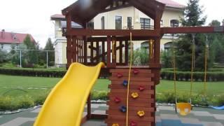 Детская площадка из дерева для дачи и батут с сеткой(, 2016-07-16T16:25:04.000Z)
