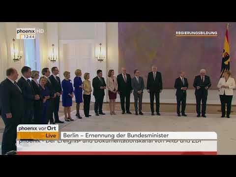 Ernennung der Bundesminister durch Bundespräsident Frank-Walter Steinmeier am 14.03.18