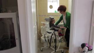 R82 UK: Flamingo High Low Toileting and Bathing Chair - Height Adjustment to Access the Sink