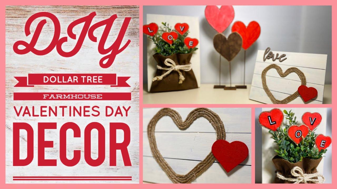 3 Diy Dollar Tree Farmhouse Valentine S Day Decor Farmhouse Vday Home Decor 2020 Simple Crafts Youtube