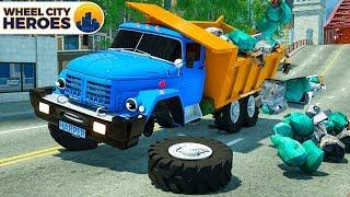 Dump Truck Calls Excavator to handle the Trash. Wheel City Heroes(WCH) Fire Truck Police Car Cartoon