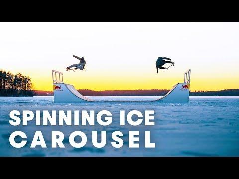 FROZEN SKATE FUN: Skateboarding a spinning ice carousel.