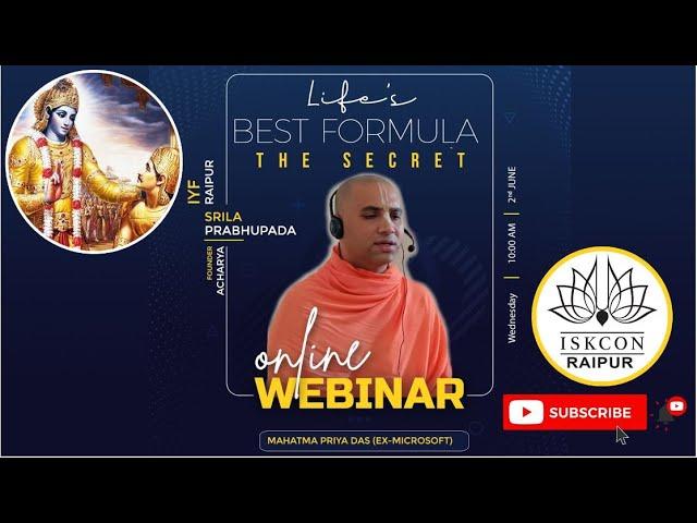LIFE'S BEST FORMULA | THE SECRET | Mahatma Priya das
