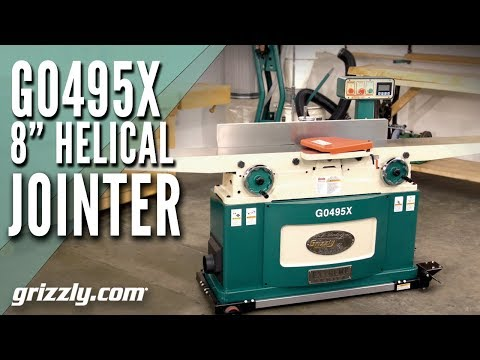 """Grizzly's G0495X - 8"""" x 83"""" Helical Cutterhead Jointer with Exclusive Digital Height Readout"""