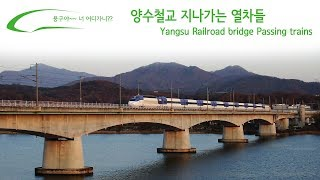 양수철교 지나가는 열차들 / Yangsu Railroad bridge Passing trains / 両水(ヤンス)鉄橋通過列車