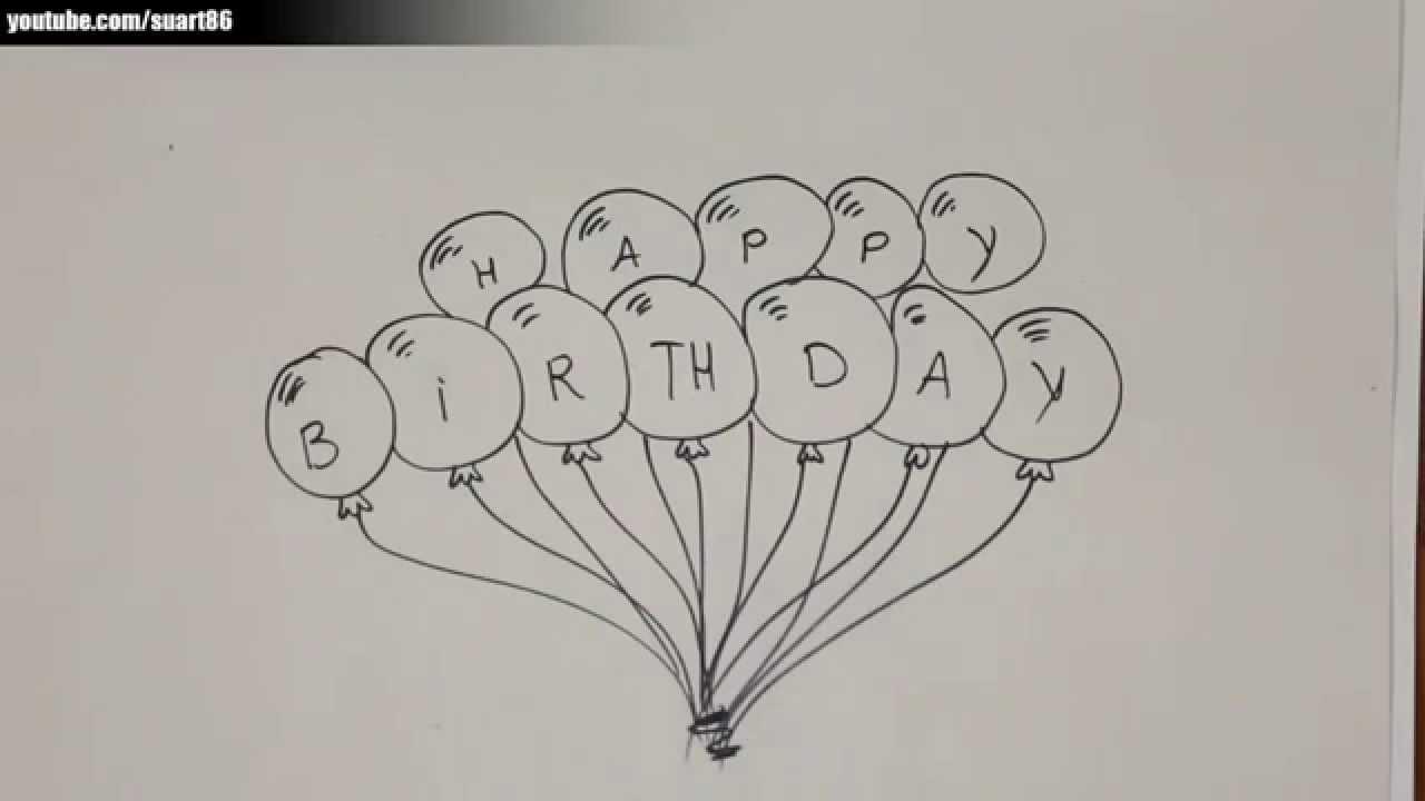 Como dibujar globos de cumpleaños - YouTube