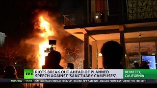 'US media create hysteria'  Protesters crash UC Berkeley to prevent Breitbart News editor's speech