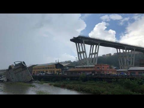يورو نيوز:عشرات القتلى في انهيار جسر للسيارات في جنوة الإيطالية