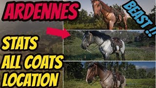 Red Dead Redemption 2 Ardennes Beast ! LOCATION & ALL COATS & STATS  GOOD HORSE GUIDE