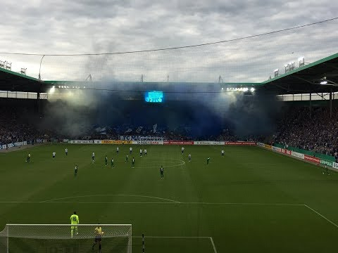 1. FC Magdeburg - FC Augsburg DFB Pokal 2017/2018 | Choreo und Pyrotechnik