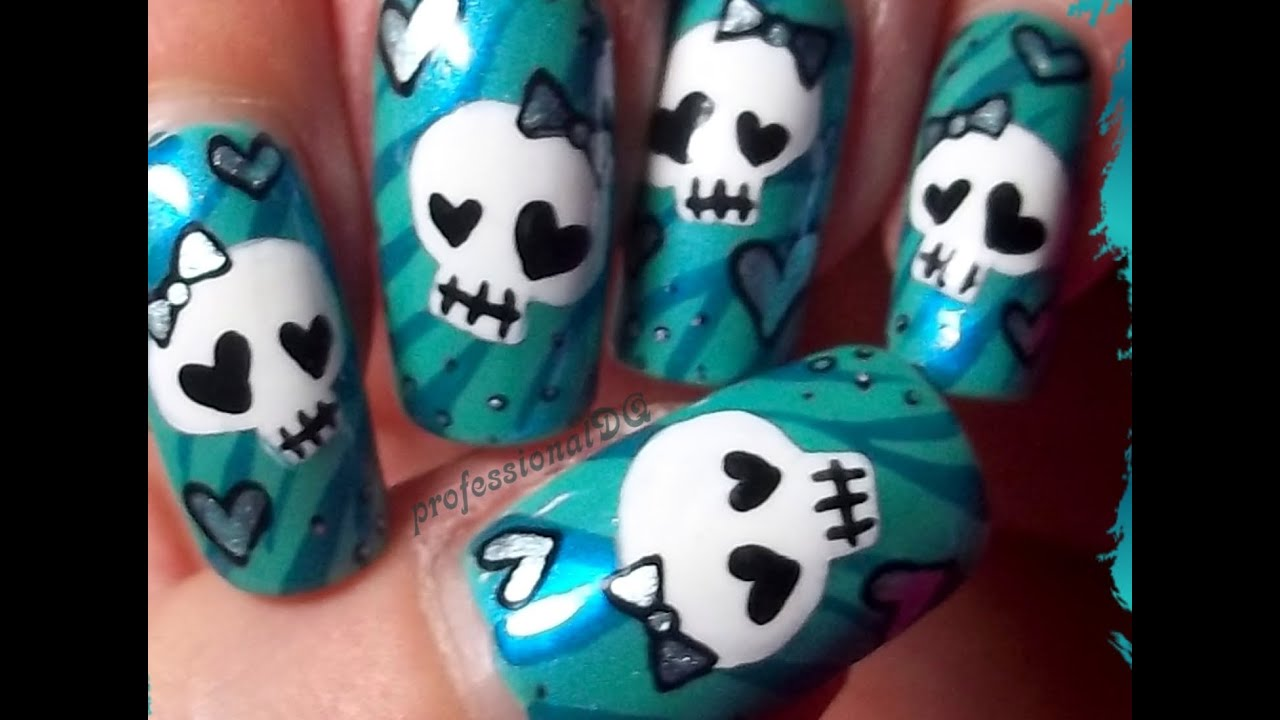 Nail art designs with skulls new year nails design flower and other image of nail art designs with skulls prinsesfo Images