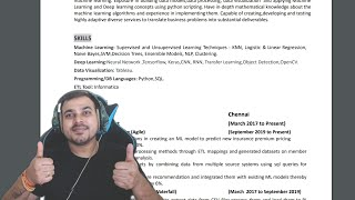 Freshers Vs Experience Resume Review For Data Science Role