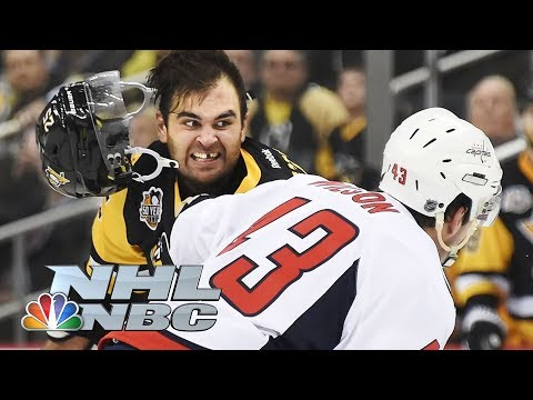 Tom Sestito, Tom Wilson fight during Penguins and Capitals season opener