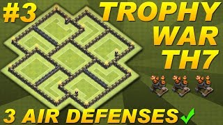 BEST Town Hall 7 (TH7) Defense Trophy War Base Design -3 Air Defenses -Clash of Clans (CoC) Setup #3