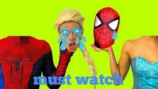 FROZEN ELSA & SPIDERMAN LOSES THEIR HEAD | Pink Spidergirl Maleficent & Joker Hulk Candy Superhero