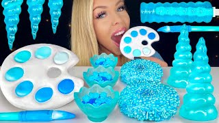 ASMR BLUE DESSERTS* EDIBLE PAINT, BLUE RASPBERRY, PAINT BRUSH, BLUE DONUT MUKBANG 먹방 꿀벌