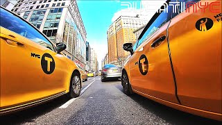 Downlow in Manhattan to Queens, NYC - Ducati Go-Kart, traffic, taxis, Queens Bridge at speed v904