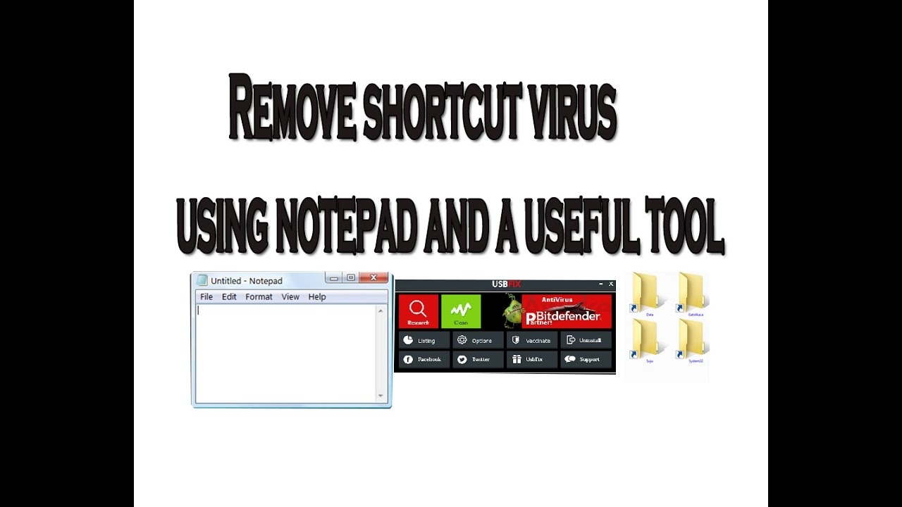 How To Remove Shortcut Virus Using Notepad And A Useful Tool