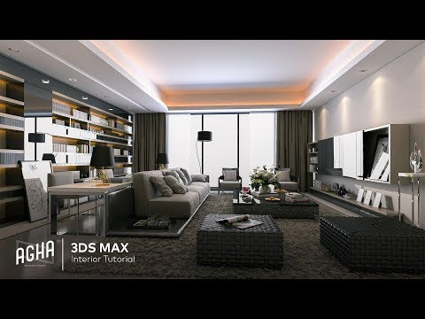 3DS Max Living Room Interior Tutorial Vray Render + Photoshop