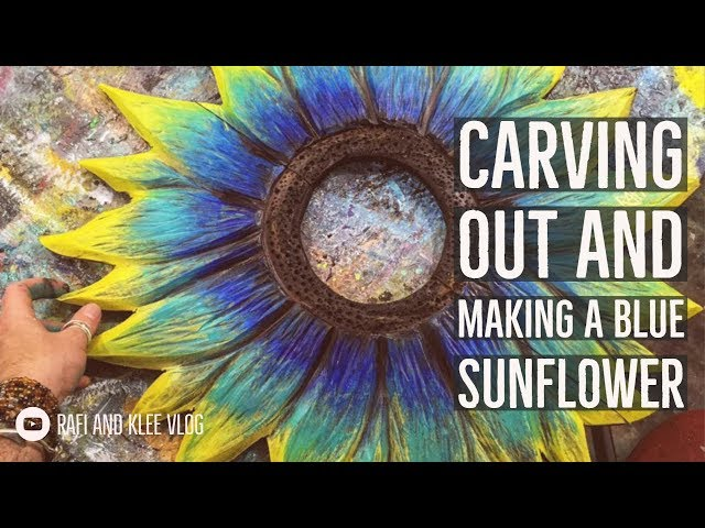 Carving Out And Making A Blue Sunflower