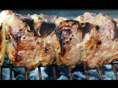Lamb loin BBQ Argentinian Style chimichurri sauce International Cuisine