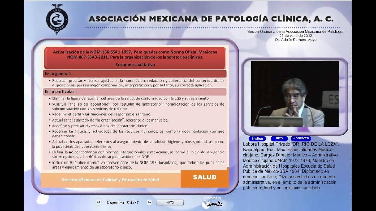 Actualización de la Norma Oficial Mexicana-Dr  Aldolfo Serrano Montoya- 26  de Abril de 2012