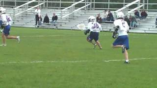 High school Lax Goalie, TWO big hits!