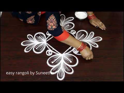 how to draw easy beginners evening kolam * beautiful simple rangoli designs with 4dots * new muggulu
