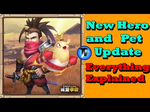 Castle Clash - New Hero And Pet Update!!! | Musashi And Raptor
