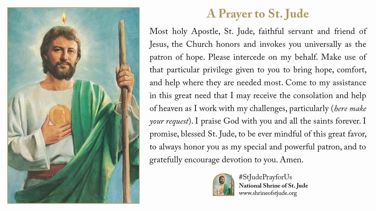 novena to st jude The st jude prayer is a very special prayer pray to st jude when you are in dire need of help from god skip to content  say a st jude novena.