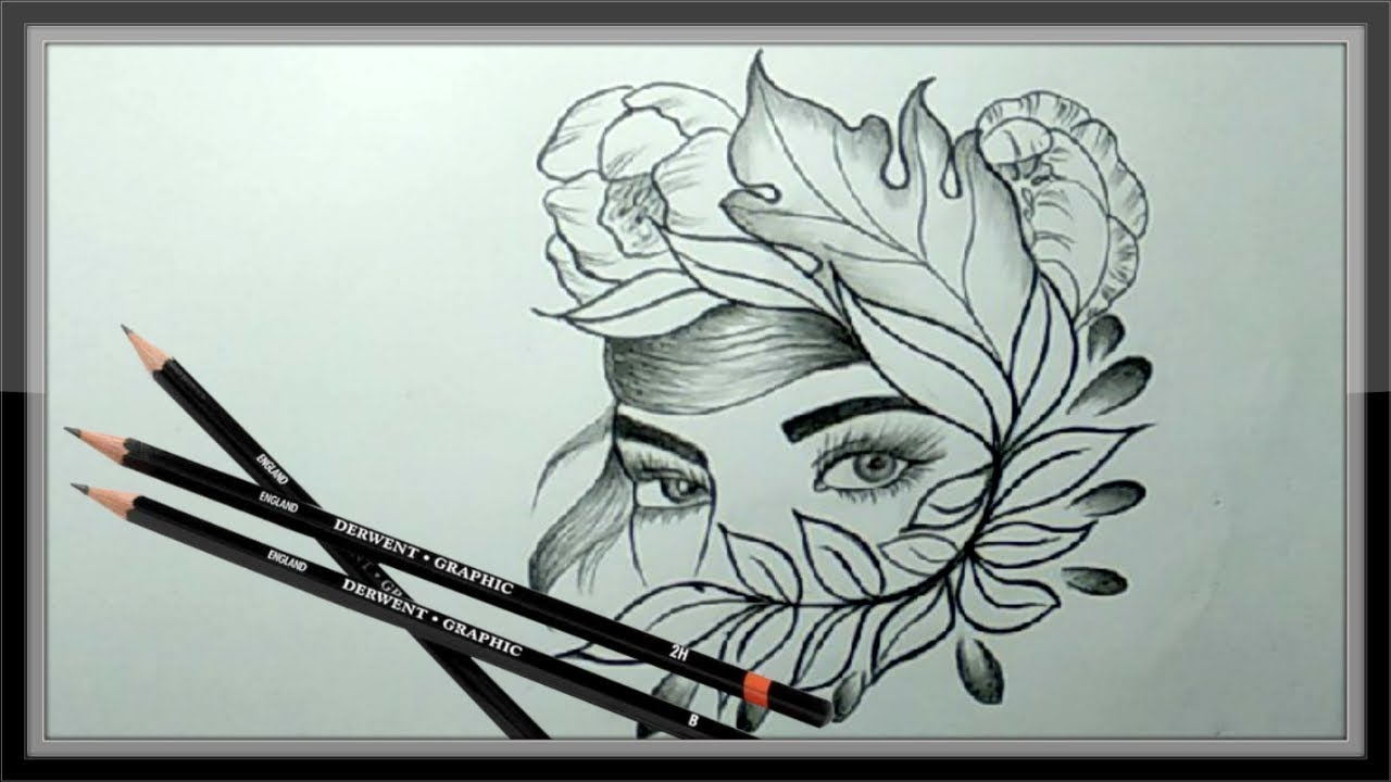 Cool Pencil Drawing A Beautiful Face Picture Easy - YouTube