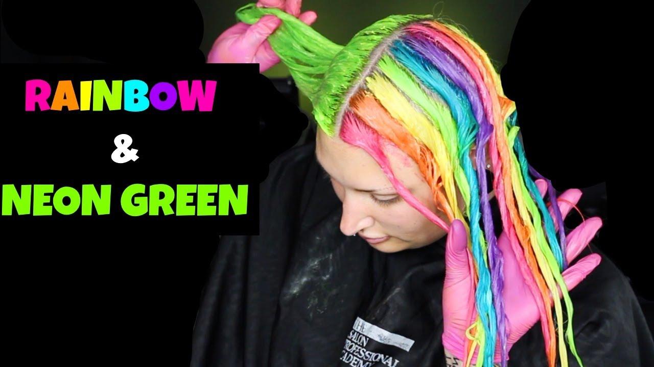Neon Green & Rainbow Split Dye!