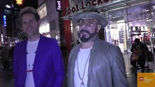 AJ McLean with Mark Adler talks about the DNA Tour outside The Call Of The Wild premiere at El Capit