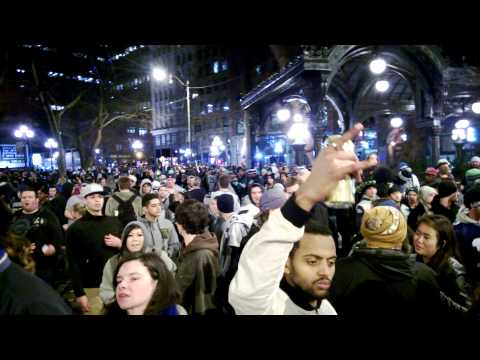Super Bowl XLVIII Seattle Seahawks celebration 12th man Pioneer Square