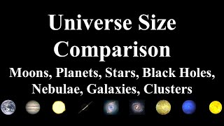 Universe Size Comparison 2018: Moons, Planets, Stars, Black Holes, Nebulae, Galaxies, Clusters