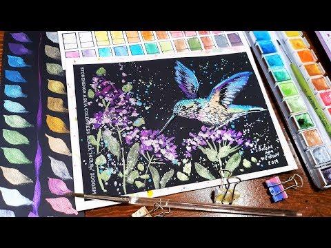 WOW! Black Watercolor Paper?!? Real-Time Hummingbird Tutorial
