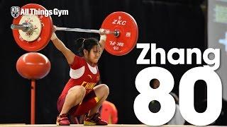 Zhao Jinhong (46.45kg, 15y/o, China) 80kg Snatch 2016 Youth World Weightlifting Championships