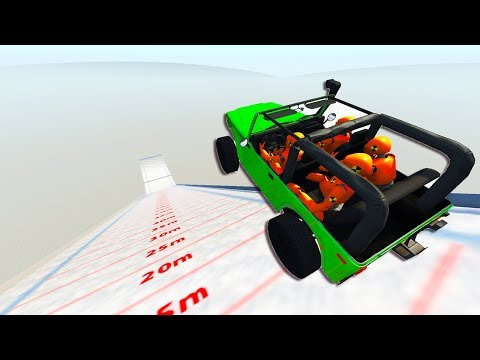 WHICH CAR CAN FLY THE FURTHEST ON SKI JUMP MAP WITH PASSENGERS? - BeamNG Drive