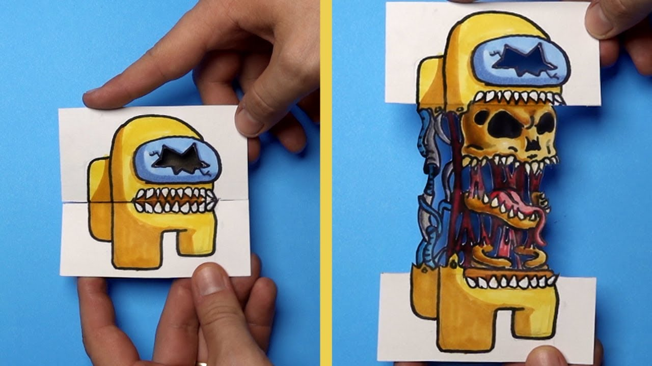 How to Draw an AMONG US IMPOSTOR SURPRISE FOLD - PAPER CRAFT for FANS