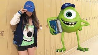 DIY Mike Wazowski Monsters University Costume (no sew) | Halloween | Eva Chung(Website | http://www.evachung.co Instagram | http://goo.gl/8jyhjX Facebook | http://goo.gl/EYdx8f Twitter | http://goo.gl/5BawWv TELL ME WHAT HALLOWEEN ..., 2014-10-06T21:30:01.000Z)
