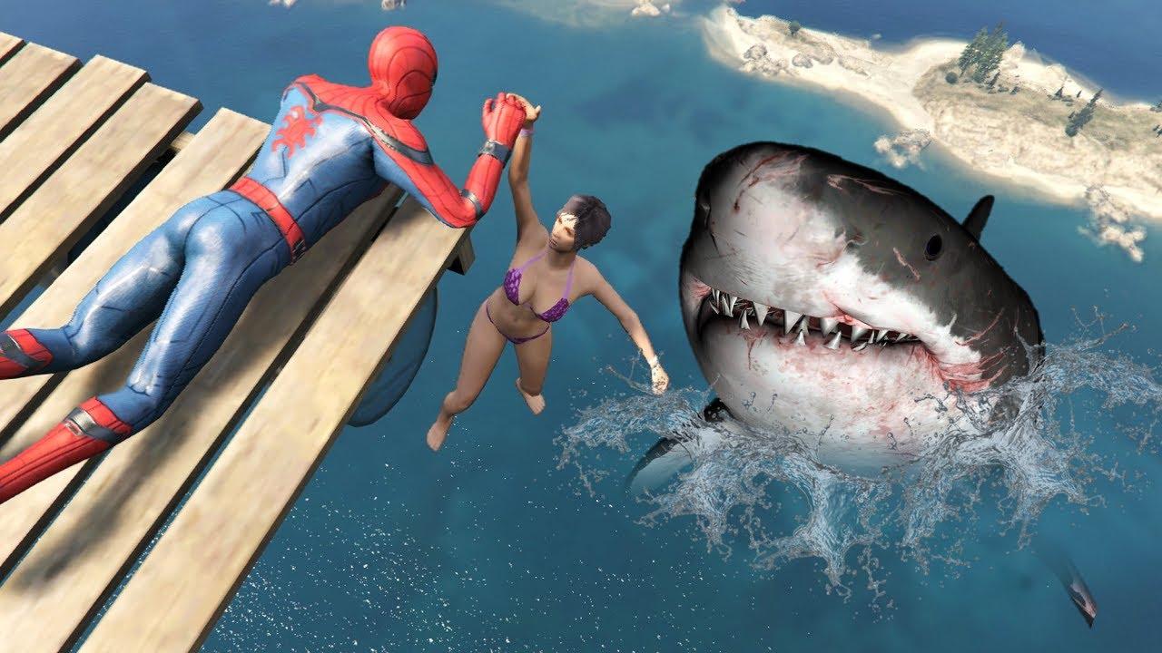 Download GTA 5 Epic Ragdolls   MEGALODON vs SPIDERMAN Jumps/Fails ep.85 (Funny Moments)