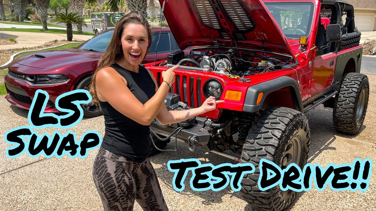 My LS Swapped Jeep Is ALIVE!! Test Fire and TEST DRIVE