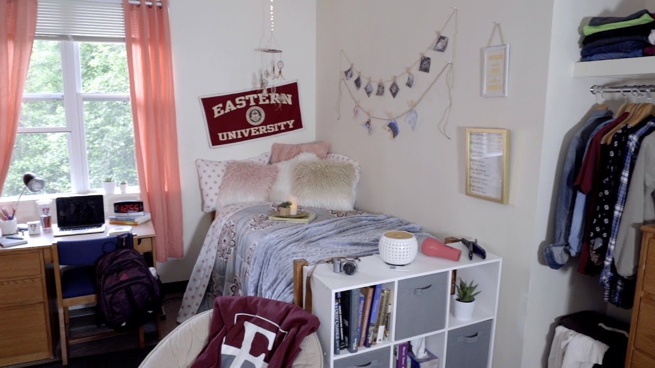 eastern university girls dorm room what to bring to college youtube