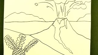 Kids Can Draw: Volcano Eruption Landscape
