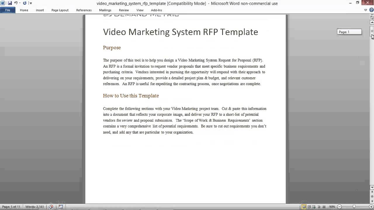 Video marketing system rfp template youtube for Proposal for marketing services template