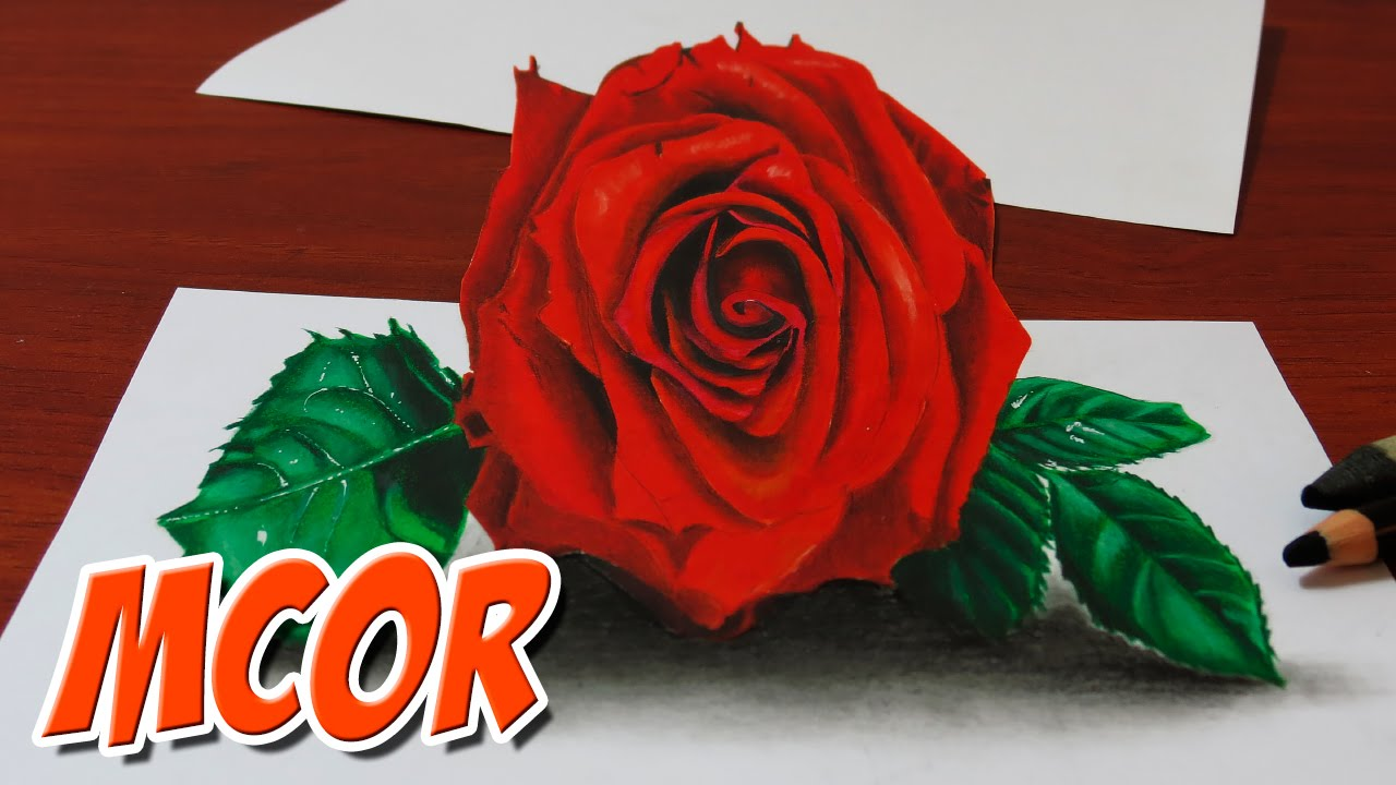 How to draw a 3d red rose anamorphic drawing youtube