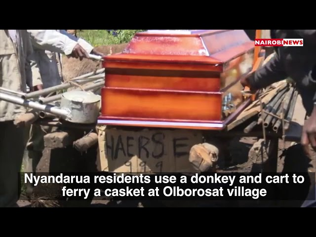 Nyandarua residents use a donkey and cart to ferry a casket at Olborosat village