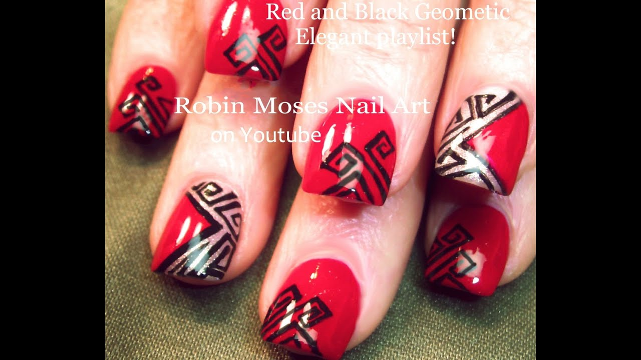 Red And Black Nails Geometric Cut Out Nail Art Design Tutorial