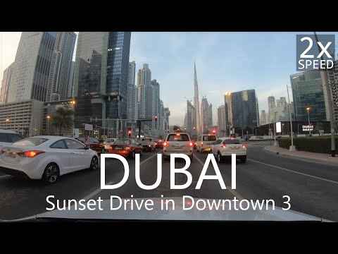 4K Sunset Drive under Dubai Skyscrapers#3: E44 to Downtown [UAE Drive3-7]
